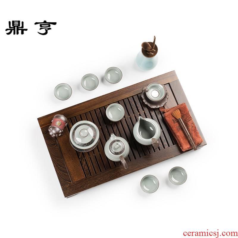 Ding heng kung fu tea set suits for your up tea taking of a complete set of household ceramic celadon teapot teacup tea tureen solid wood