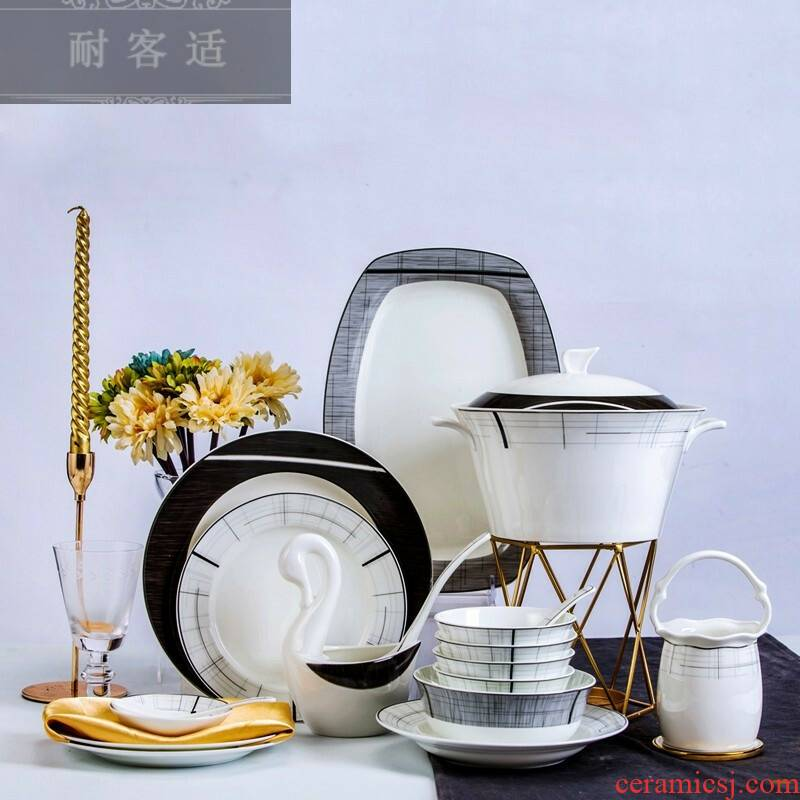Hold to guest comfortable manufacturers shot 2019 new European contracted household ipads porcelain tableware, 56, 66 dishes suit