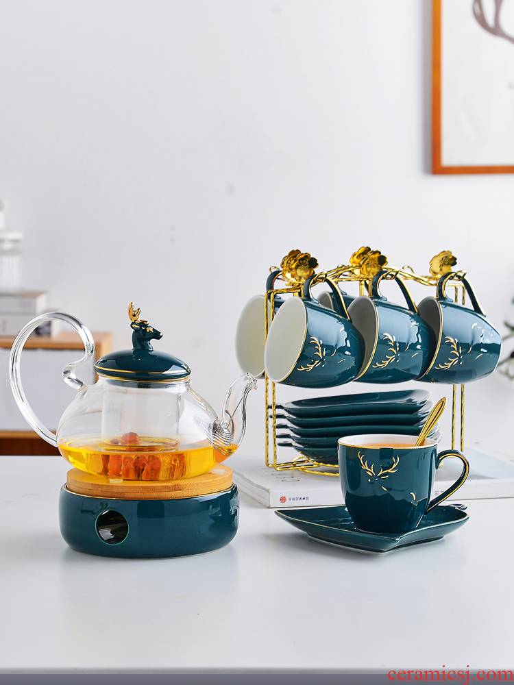 Ceramic European household fruit tea tea teapot set flowers and tea cups with filter based heating
