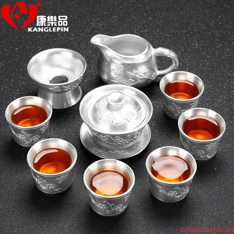 Recreational product coppering. As silver, 999 silver, ceramic tea set manually kung fu tea teapot teacup 6 people of a complete set of gift box
