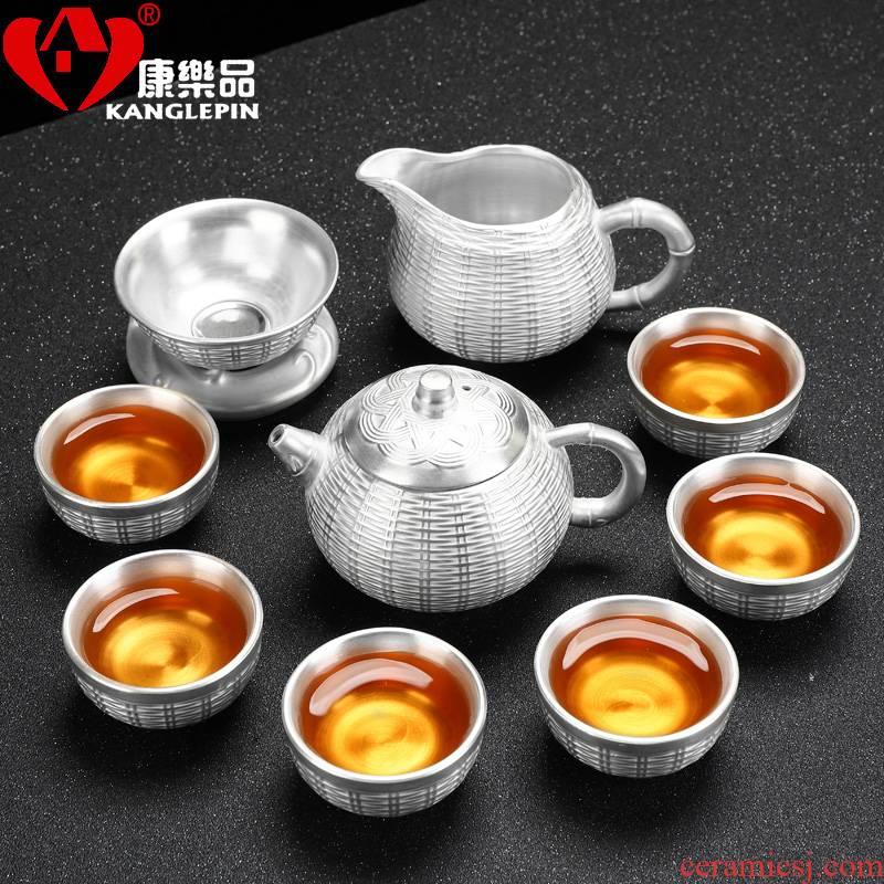 Recreational product tasted silver gilding kung fu tea set suit household contracted ceramic cup lid bowl silver tea service, 999