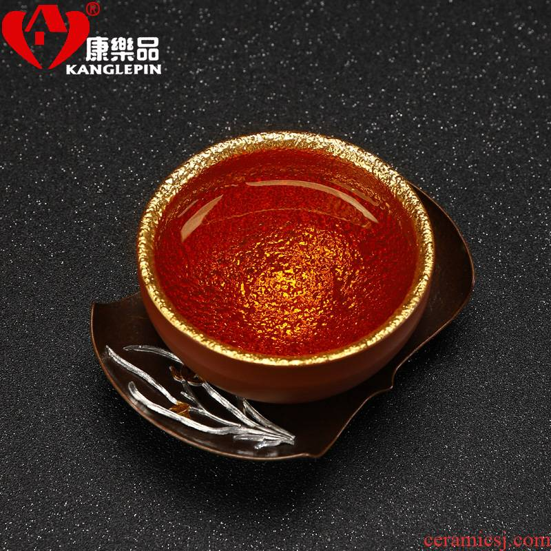 Recreational product yixing purple sand yellow marigold gold silver cup checking ceramic cups kung fu masters cup single CPU