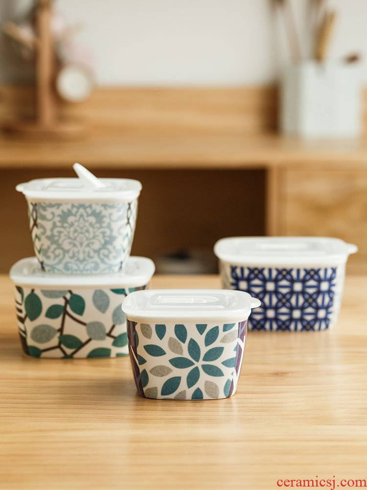One thousand generation source ceramics preservation bowl three - piece suit small bowl with cover household refrigerator microwave bowl suit small lunch box