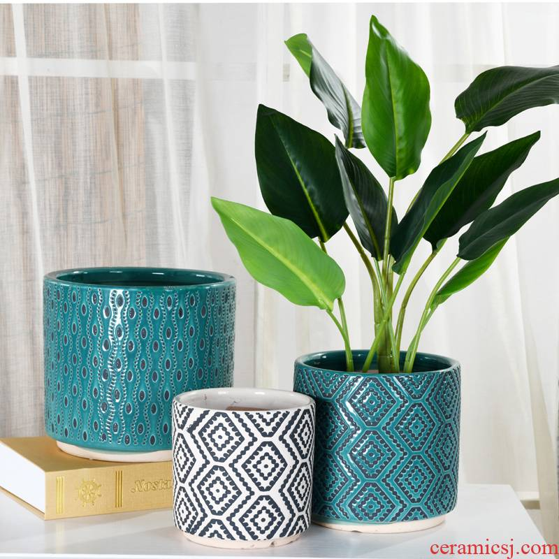 Flowerpot ceramic oversized contracted round desktop landing household Flowerpot more than other meat on sale wholesale clearance