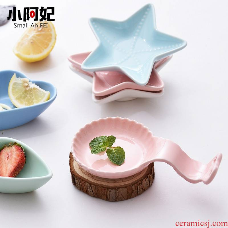 1 ceramic simple side dish flavor dish who new kitchen cartoon small plate tableware dip in vinegar sauce dish