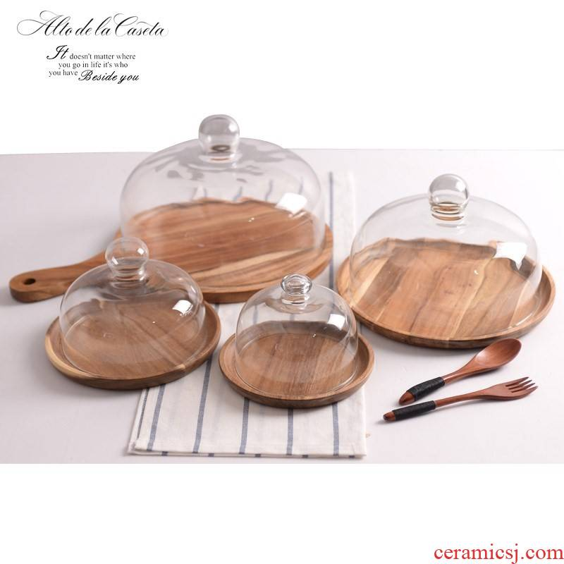 Phi SaMu tray inch round afternoon tea heart frame plate with real wood the glass new ceramic cake tray