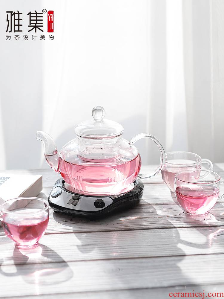 Di - glass teapot tea set with transparent insulation heat - resisting filtering pot of constant temperature electric heating base treasure