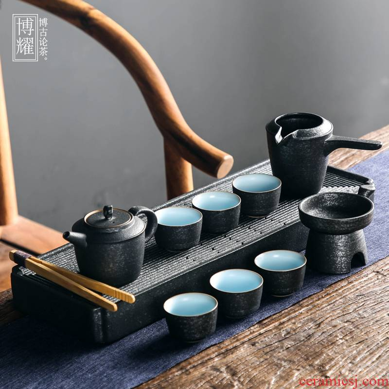Bo yao tea set of a complete set of bluestone glaze coarse pottery Chinese style household contracted ceramic teapot tea tray was kung fu tea cups