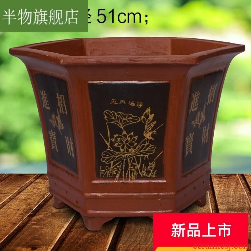 . Large purple sand flowerpot Large extra Large garden bonsai cycas flowerpot balcony ceramic flower pot to plant trees