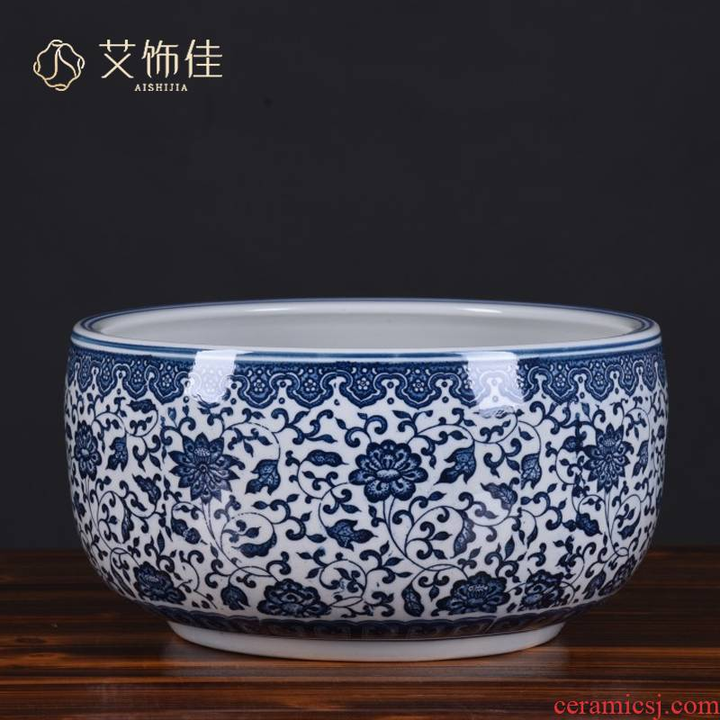 Basin of jingdezhen blue and white porcelain ceramic bowl lotus Basin water lily lotus special household cornucopia hydroponic grass cooper