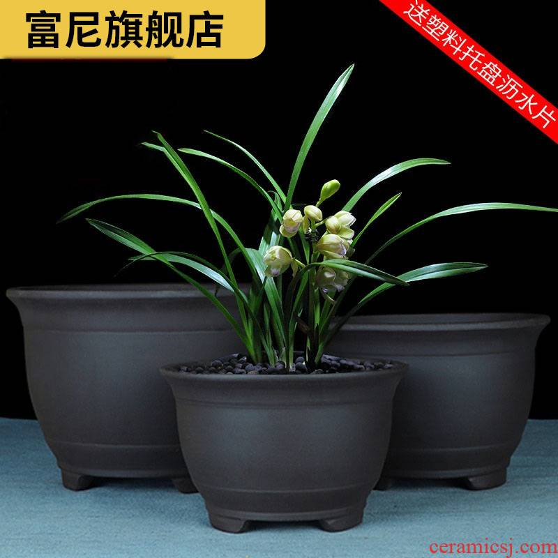 Rich, violet arenaceous miniascape of yixing, contracted pot large clivia ceramic flowerpot clearance balcony vegetable pot