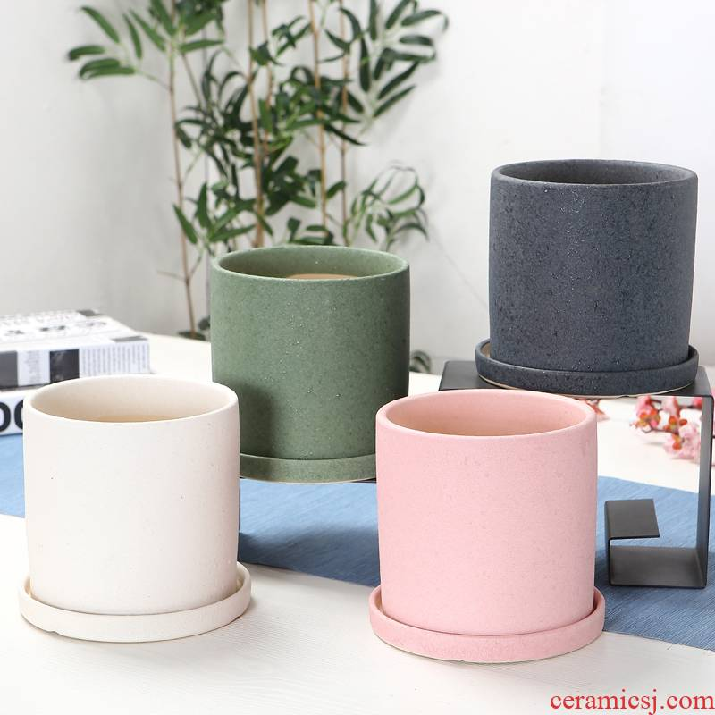 Cylinder contracted ceramic flower POTS with tray package mail extra large wholesale money plant bracketplant sitting room balcony flowerpot more meat