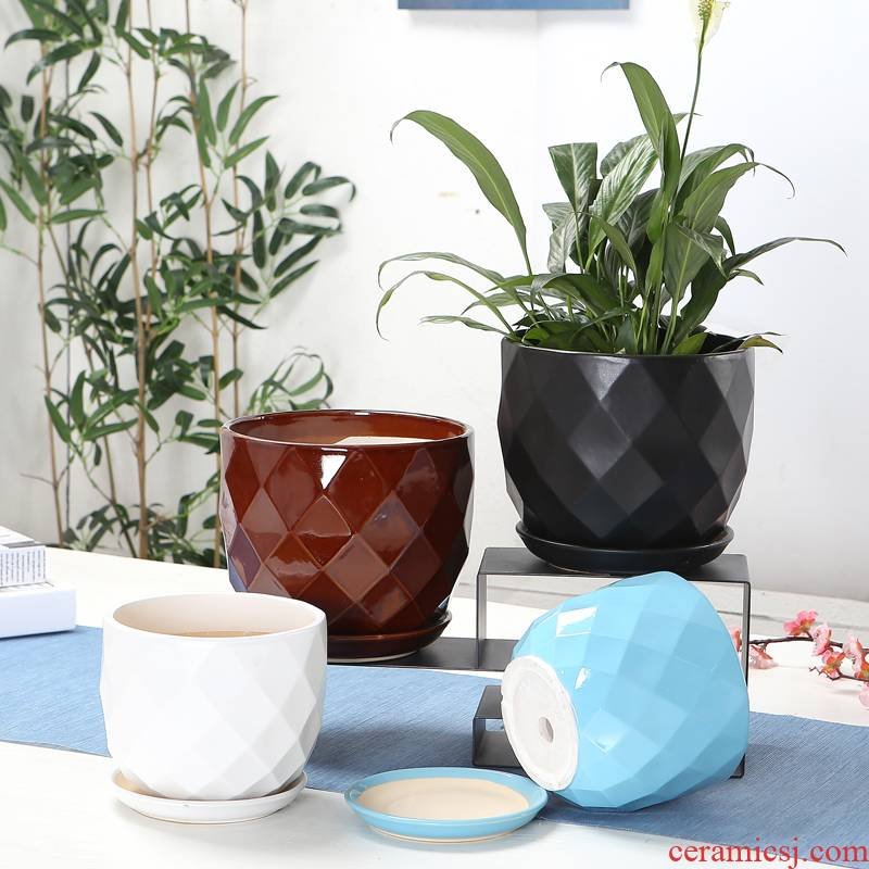 Household flowerpot ceramics with extra large fission tray was contracted creative money plant bracketplant sitting room balcony flowerpot wholesale