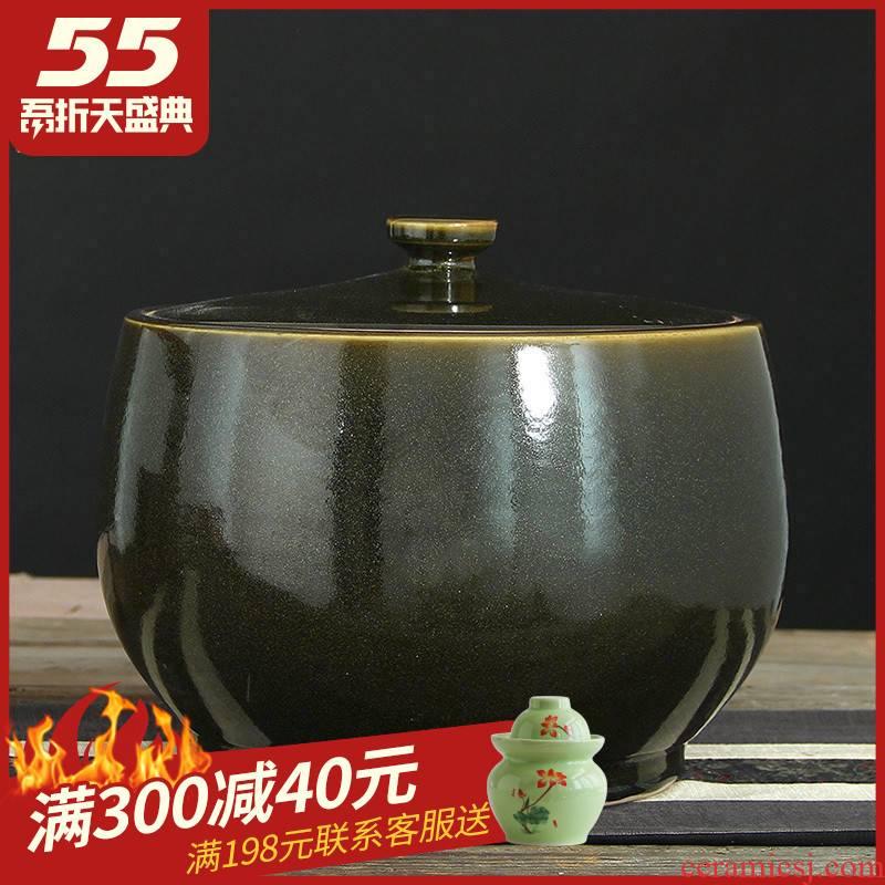 Jingdezhen ceramic glaze barrel at the end of the tea bucket cylinder 10 jins 20 jins 40 kg manual tea urn storage tanks