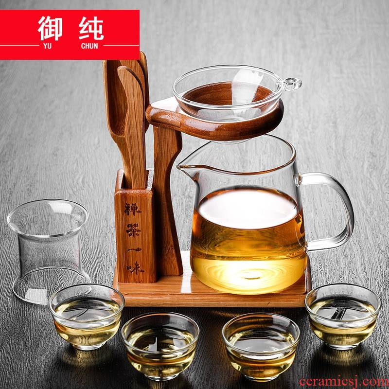 Imperial justice more pure heat - resistant glass cup kung fu tea tea is tea sea) separated points square cup suit