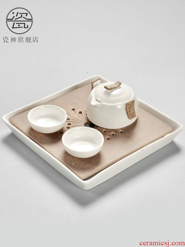 Porcelain ceramic god travel portable kung fu tea sets the trumpet tea tray household contracted Japanese crack. A cup of tea