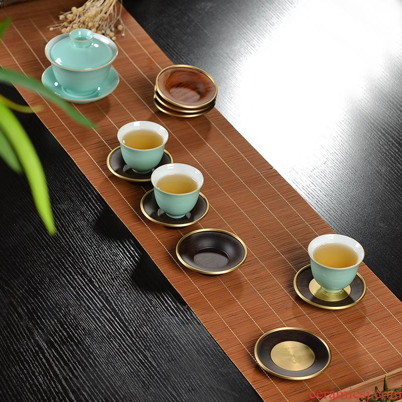 Xu ink black ebony cup insulated copper wood sample tea cup mat wood slippery spare parts for Japanese kung fu tea tea taking