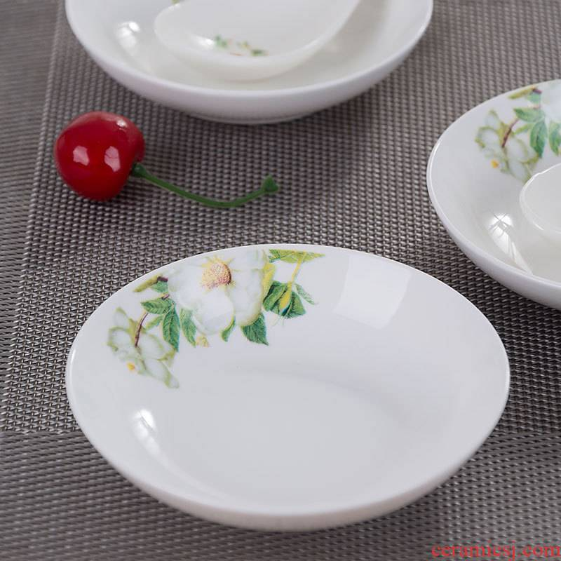 Wild lily flavour dish serving snack plate flavour sauce dish ceramic disc plates household single dip vegetables disc disc