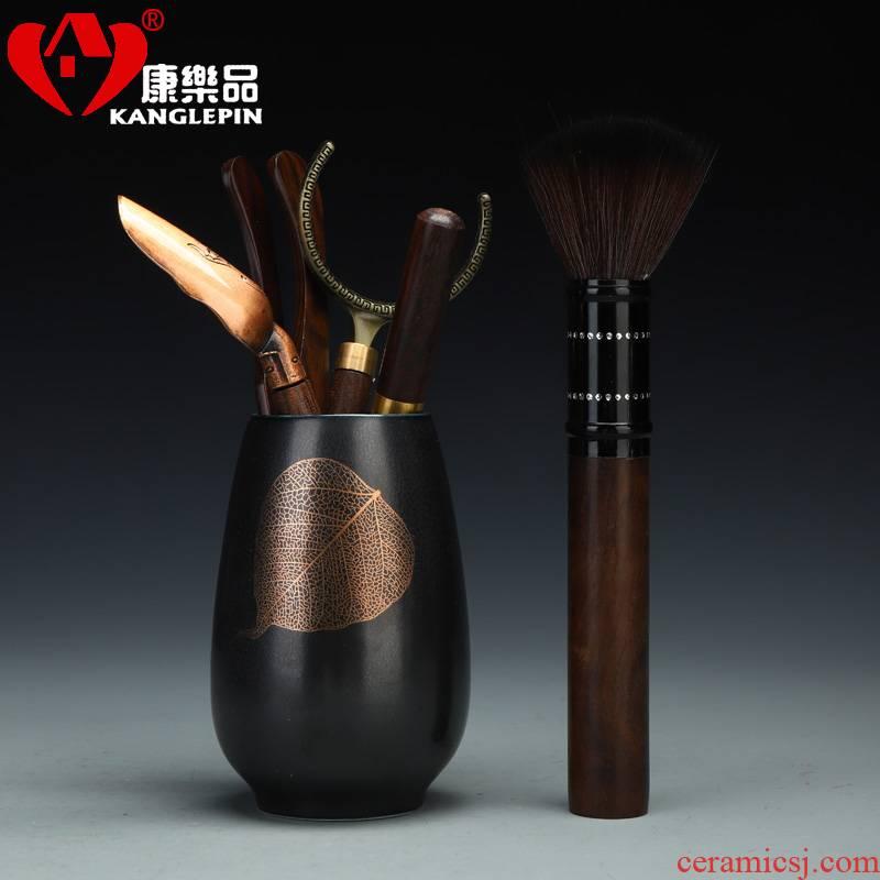 Recreational product black glaze the futaba ceramic lazy tea tea tray parts kung fu tea set solid wood tea set
