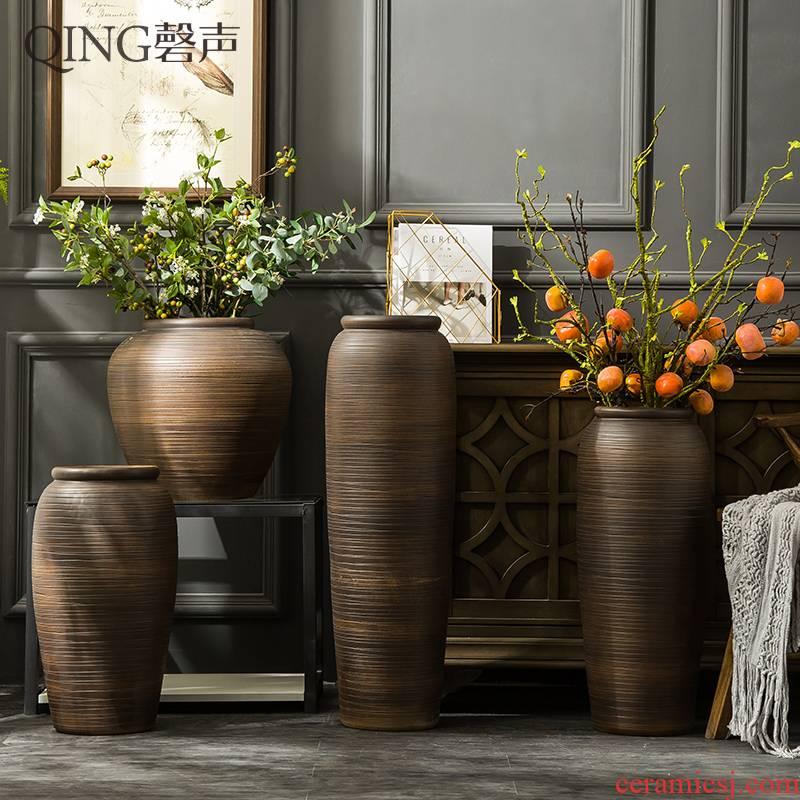 Jingdezhen ceramic vase furnishing articles of large sitting room hotel restaurant Chinese flower arranging dried flowers, porcelain clay restoring ancient ways