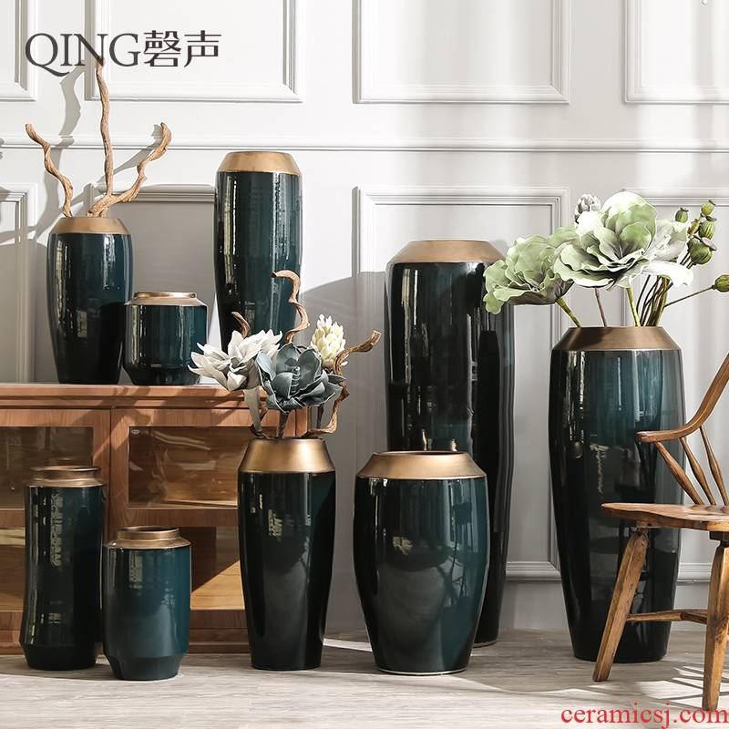 Ceramic furnishing articles sitting room of large vase flower arranging dried flower porcelain hotel villa household contracted and I adornment