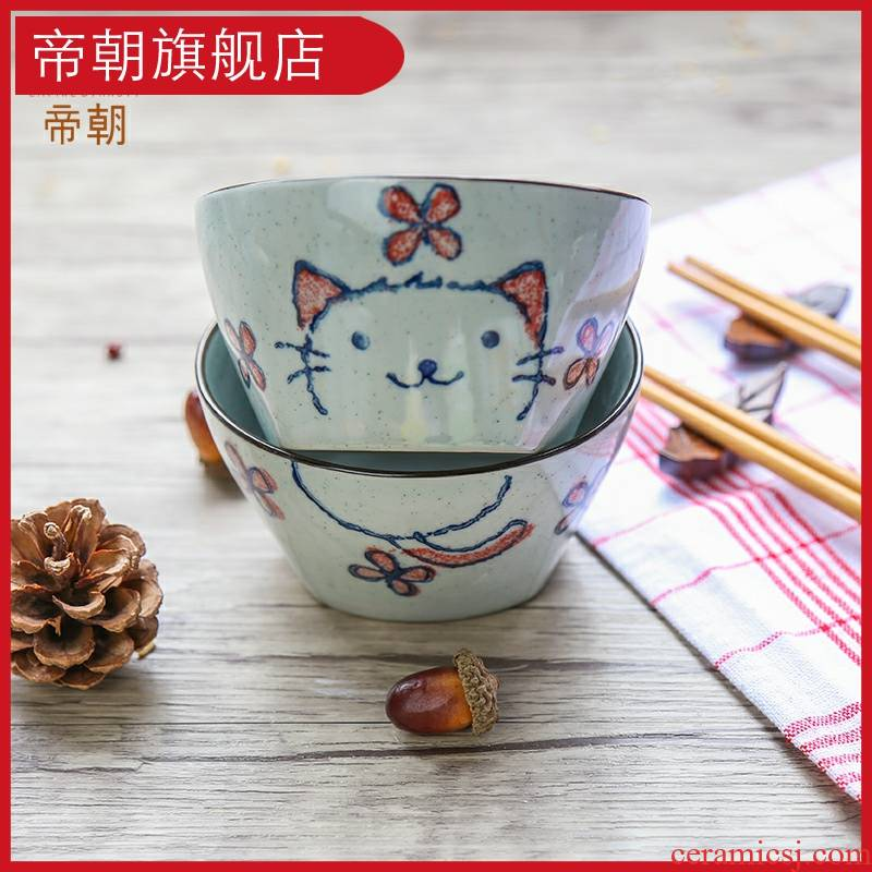 Rice bowls with practical and durable ceramic bowl cat bowl of soup bowl Korean Japanese bowl bowl, express and creative