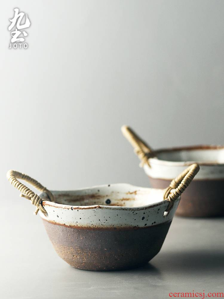 About Nine Japanese soil coarse ceramic tableware mini basin home fruit bowl of cold dish basin of restoring ancient ways contracted checking ceramic feeder