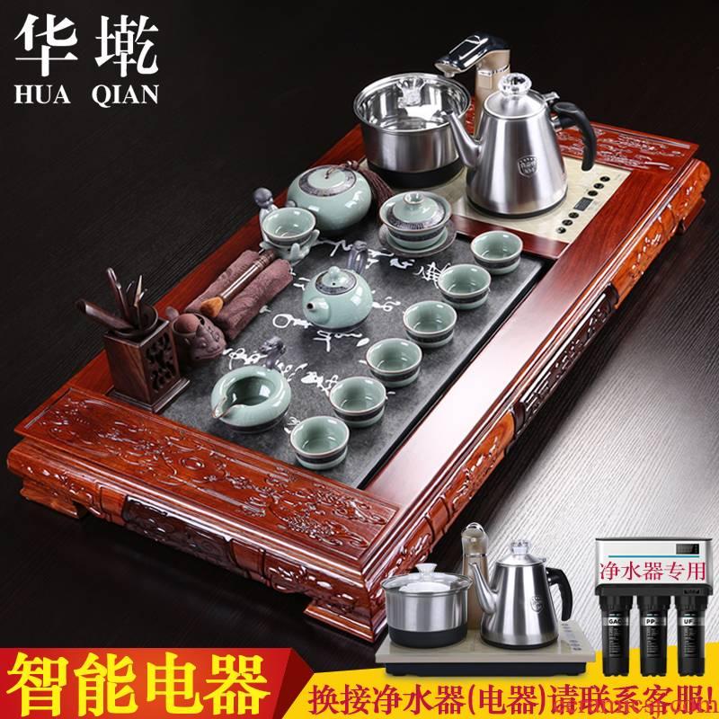 China Qian tea set to spend pear wood tea tray annatto tea sea sharply home violet arenaceous stone tea kungfu tea set