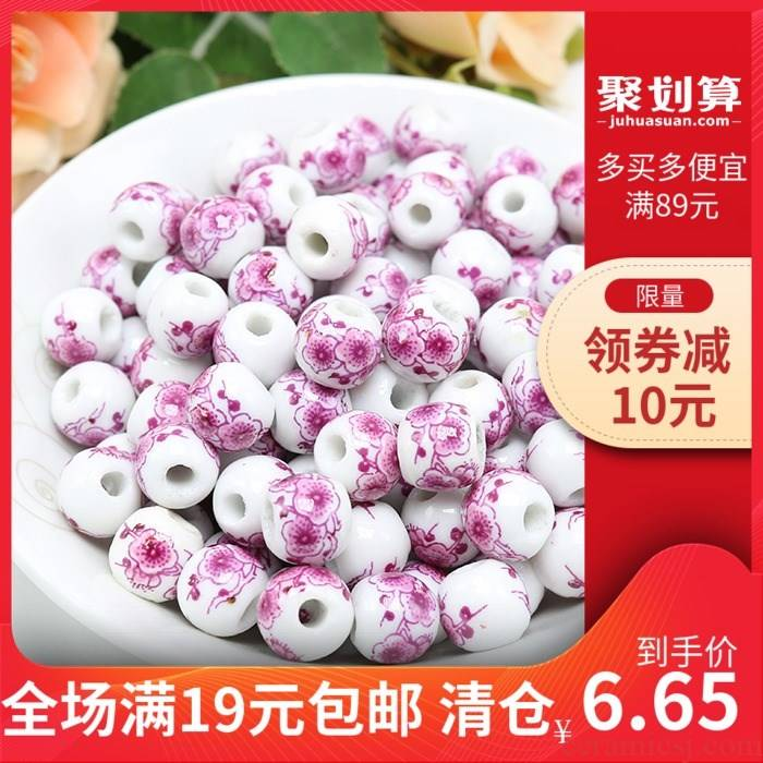 Mei red name plum flower beads of jingdezhen ceramic decals bead high temperature bake porcelain beads diy bracelet pink flowers scattered beads