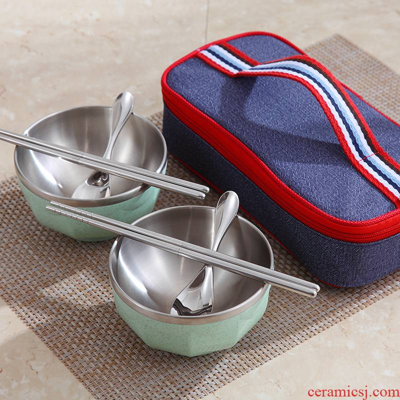Bo view 304 stainless steel is suing tourism supplies portable tableware suit eating food for a picnic with cover children 's creativity