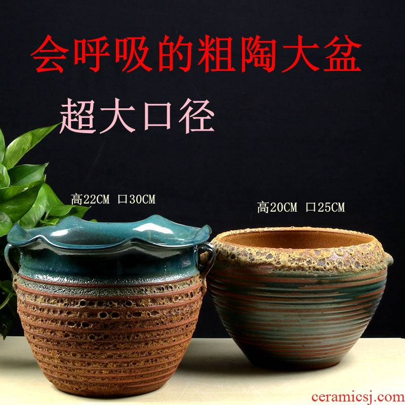 Special coarse pottery flowerpot more meat mage old running money plant biscuit firing purple large caliber ceramic large European air permeability