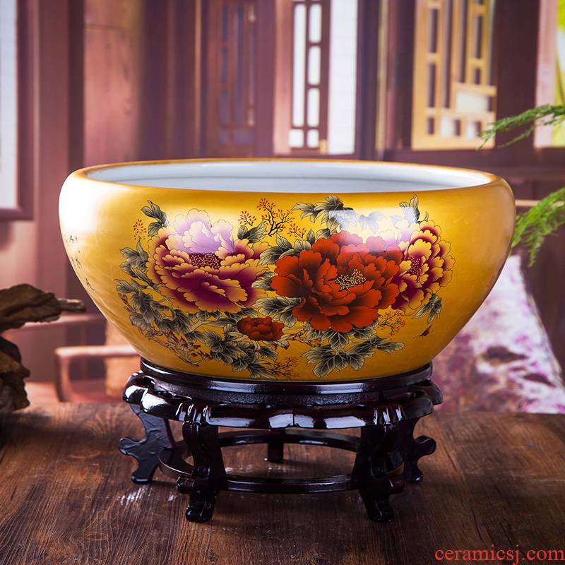 Jingdezhen ceramic goldfish bowl lotus lotus cylinder villa garden home sitting room lucky wind water tanks and furnishing articles
