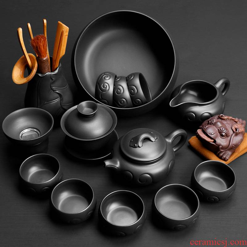 Tao blessing, violet arenaceous kung fu tea set home a whole set of black mud purple sand teapot teacup tea tea set