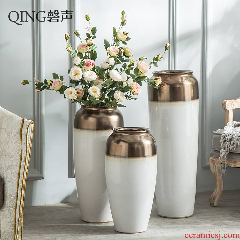 Jingdezhen ceramic vase big sitting room ground large I and contracted dry flower flower arranging hotel porch decorate furnishing articles