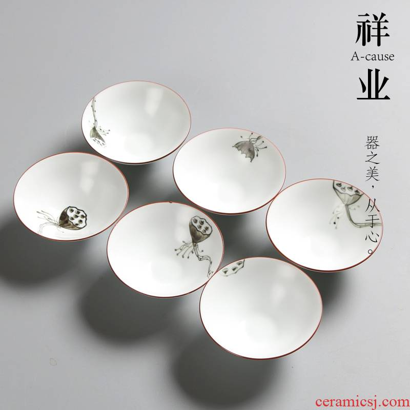 Auspicious industry fat white hand hat to court cups color ink light Bai Ding up hand - made kung fu tea set