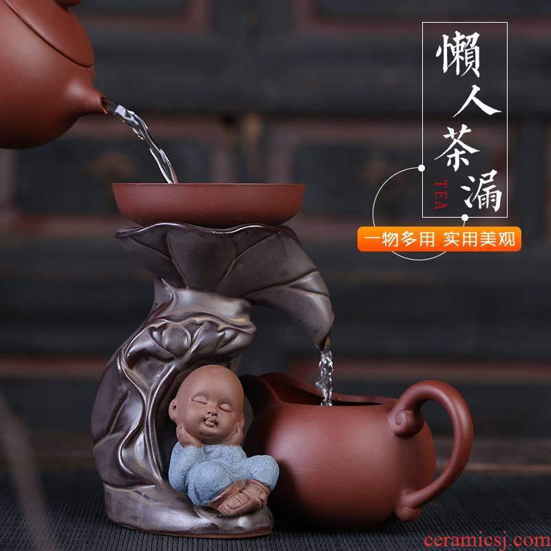 Creative tea accessories violet arenaceous) tea filter auspicious industry monk monk tea strainer Creative ceramic tea strainer