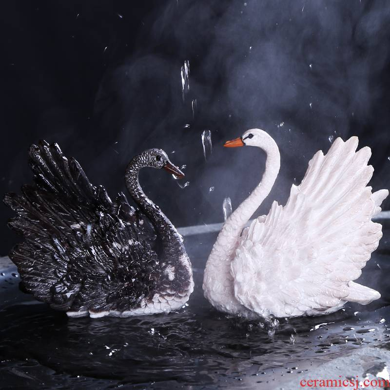 Pet swan furnishing articles boutique auspicious industry color tea to keep play tea tea tea tray was creative act the role ofing is tasted furnishing articles