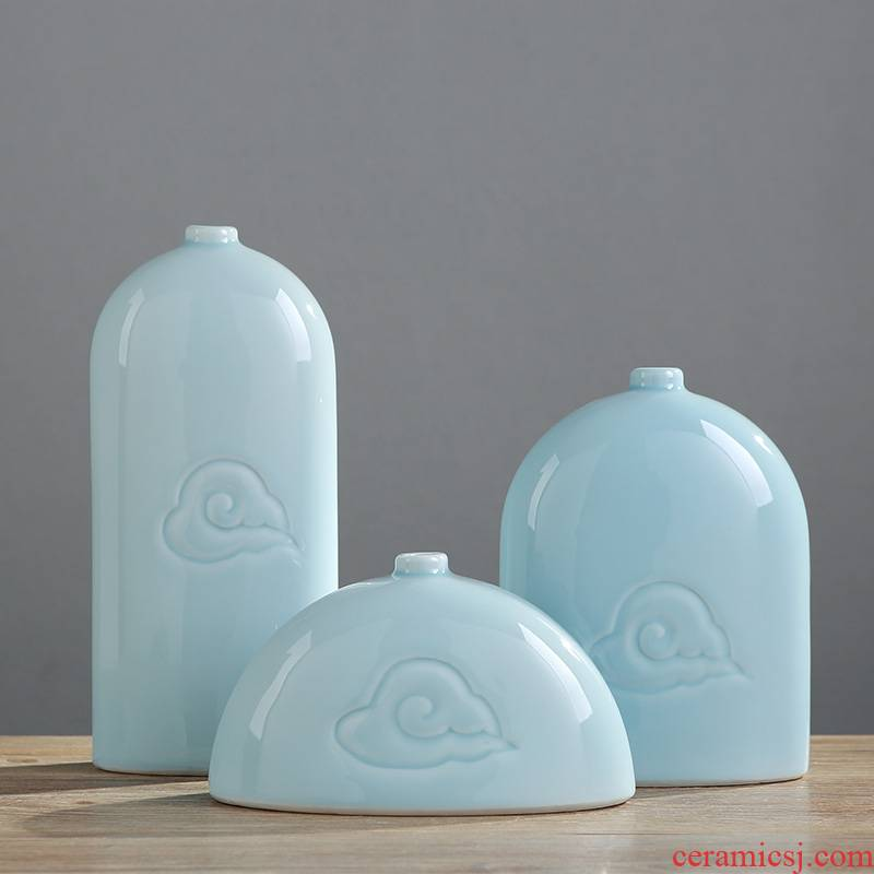 Jingdezhen ceramic vase household soft adornment three - piece furnishing articles sitting room of Chinese style art TV ark, decoration