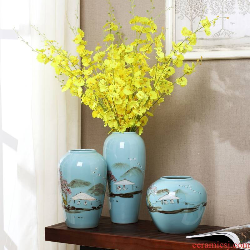 New Chinese style furnishing articles of jingdezhen ceramics, vases, flower arrangement, wine cabinet TV ark, the sitting room porch household soft adornment