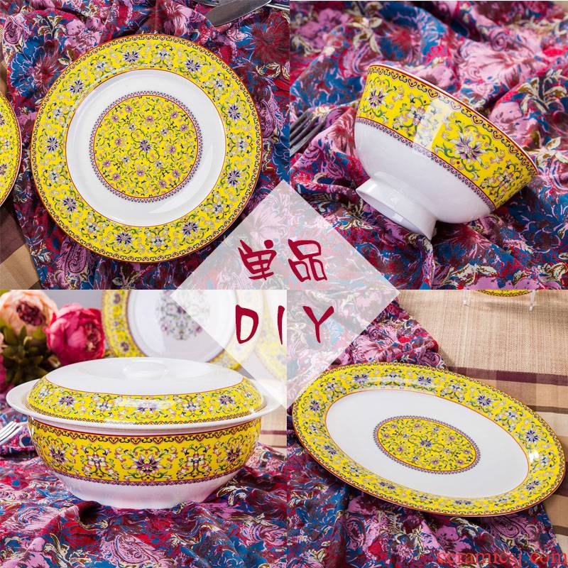 Royal town hotel restaurant of plate Chinese bowl dish dish imperial household utensils diy free collocation with the yellow bowl