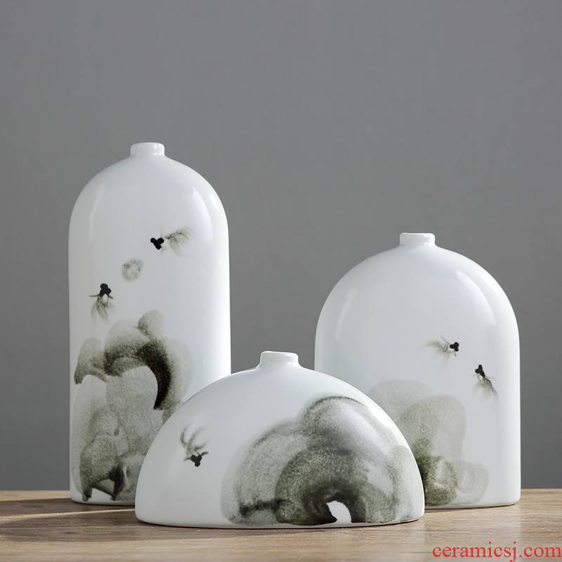 Jingdezhen ceramic household modern vase desktop TV ark, place adorn article sitting room of Chinese style art decoration
