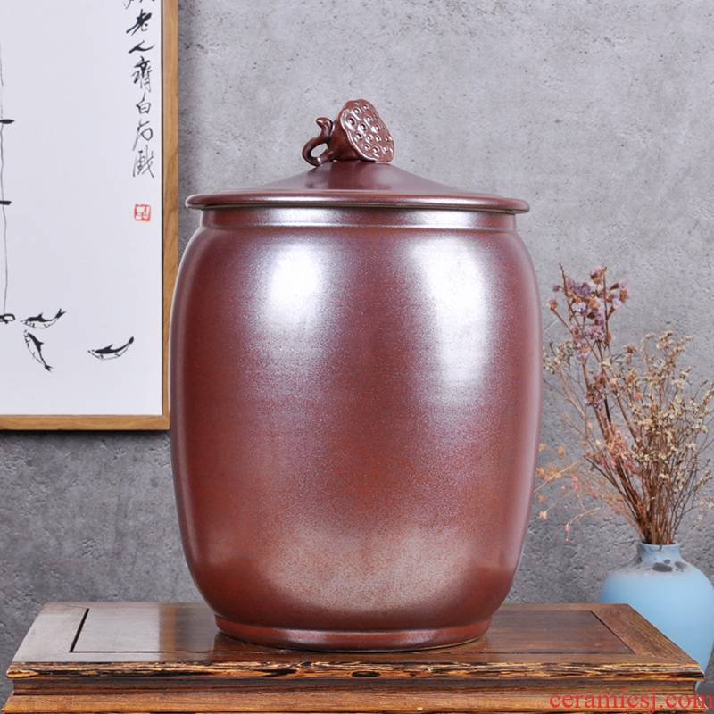 Jingdezhen ceramic barrel ricer box sealing caddy fixings 30 kilo meters pot store content box moistureproof insect - resistant meter altar
