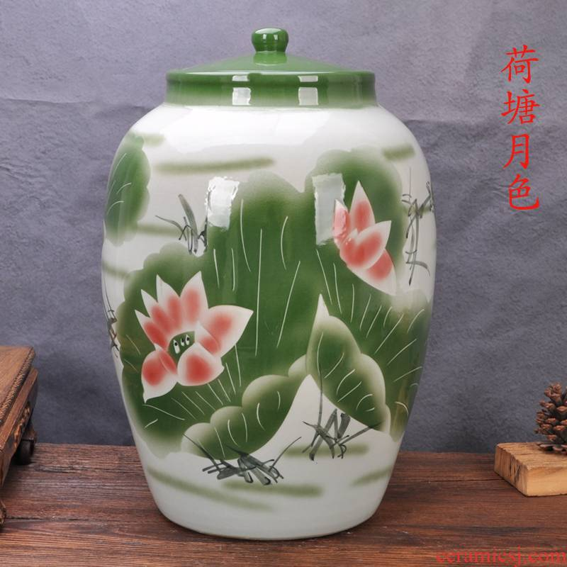 Jingdezhen ceramic barrel ricer box tank surface barrel tea barrel 20 jins 50 pounds with cover jars cylinder tea urn POTS