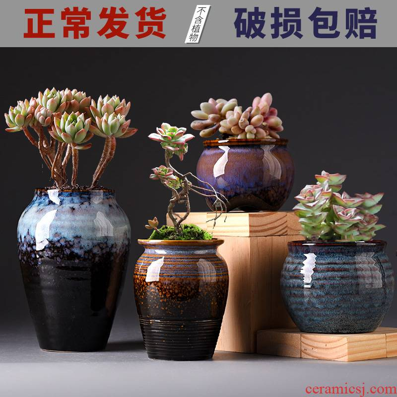 The Fleshy ceramic special offer a clearance contracted coarse pottery flowerpot breathable interior of large diameter flesh creative flower pot the plants