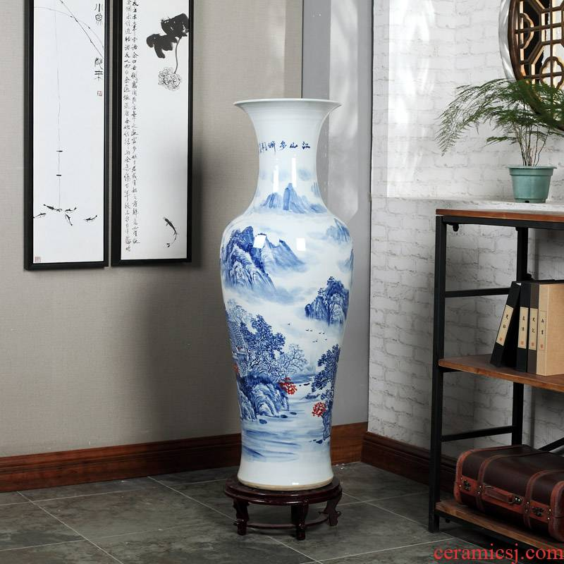 Jingdezhen ceramics high white large blue and white porcelain vase hotel opening gifts sitting room adornment is placed