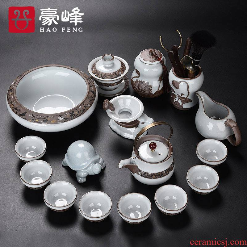 HaoFeng elder brother up kung fu tea set of a complete set of household ceramic teapot teacup tea tea wash tea tureen) taking