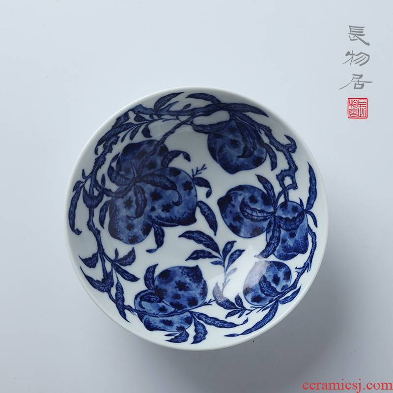 Offered home - cooked hand - made lines tao killings in blue and white lie the foot bowl of jingdezhen ceramic light dessert bowl meal to use small shallow expressions using