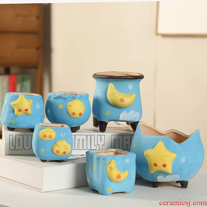 End of lovely stars, the moon ceramic flowerpot more meat individuality creative thoroughly with tao discounted plant blue coloured drawing or pattern