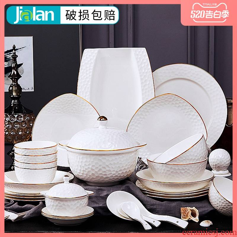 Garland dishes suit ceramic bowl dish bowl chopsticks bowl combine household contracted anaglyph ipads porcelain tableware suit