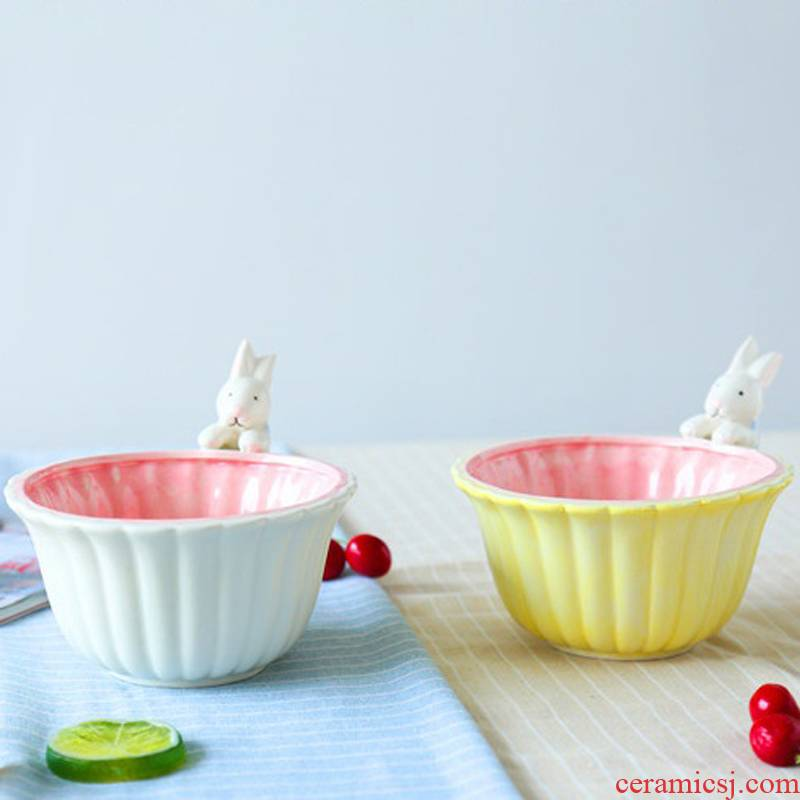 Jingdezhen ceramic salad bowl cartoon express to use rabbit dessert fruit salad dim sum dishes snacks in your job
